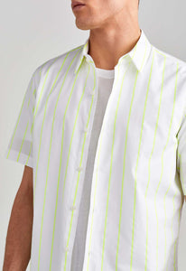 Park Shirt - White/Fluro Yellow Stripe