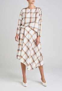 Sunday Silk Skirt - Dark Husk/Charcoal Check