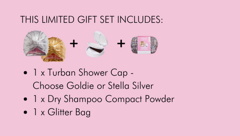 Styledry-Turban-Shower-Cap-Dry-Shampoo-Compact-Powder-Gift-Set-Gold-Silver