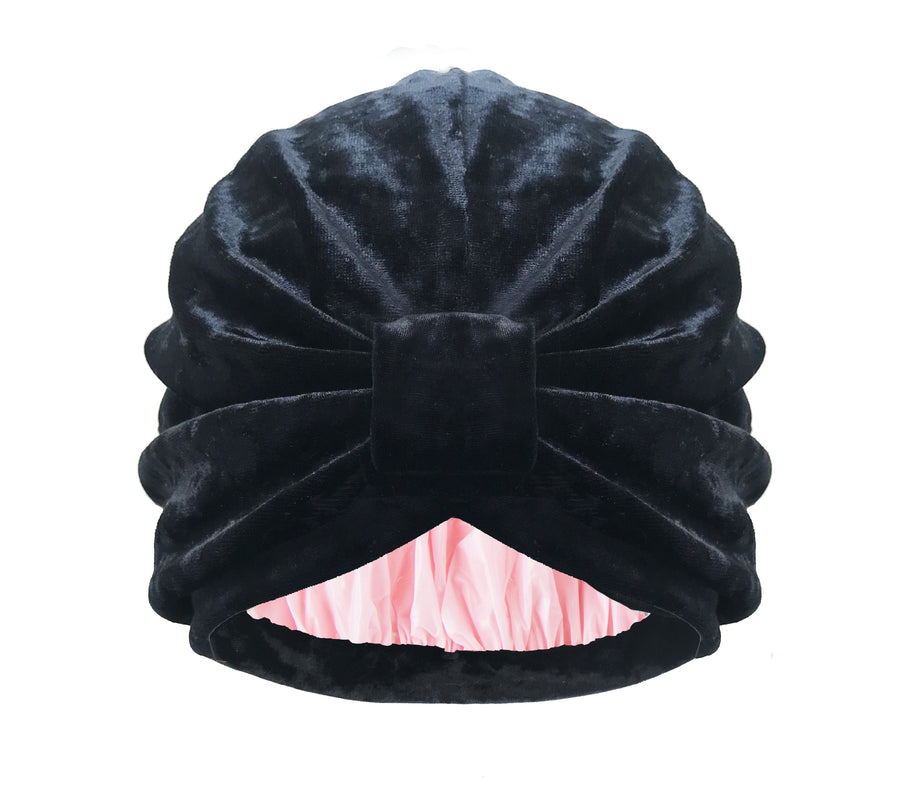 Turban Shower Cap | Colour: to the moon and black