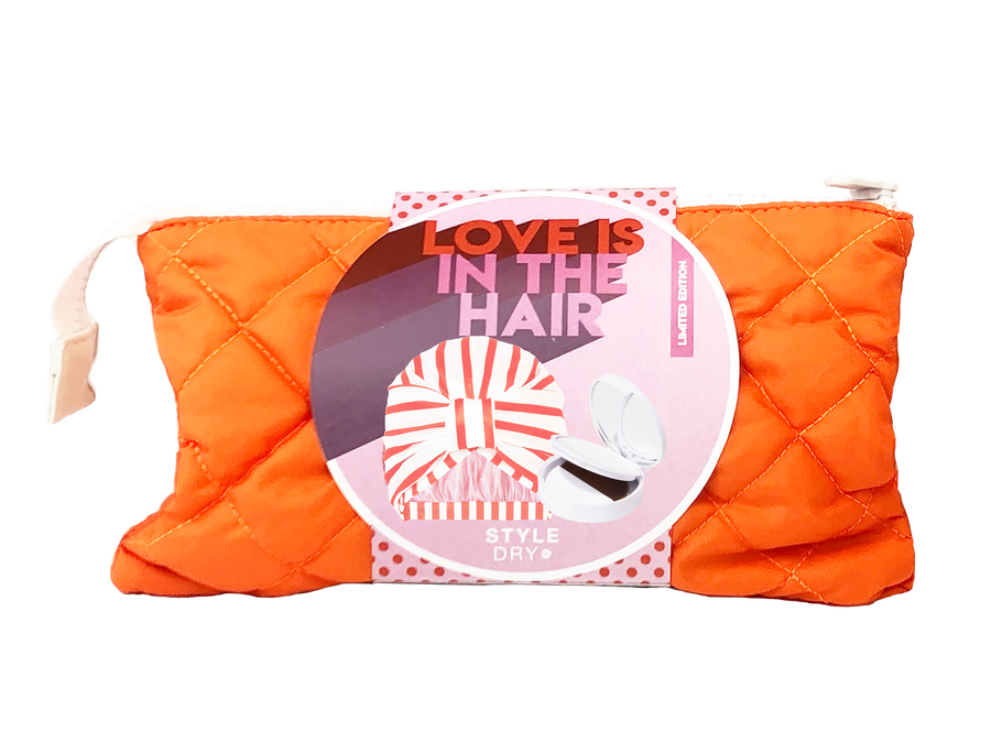 Love Is In The Hair Set (Shower Cap + Dry Shampoo + Reversible Bag)