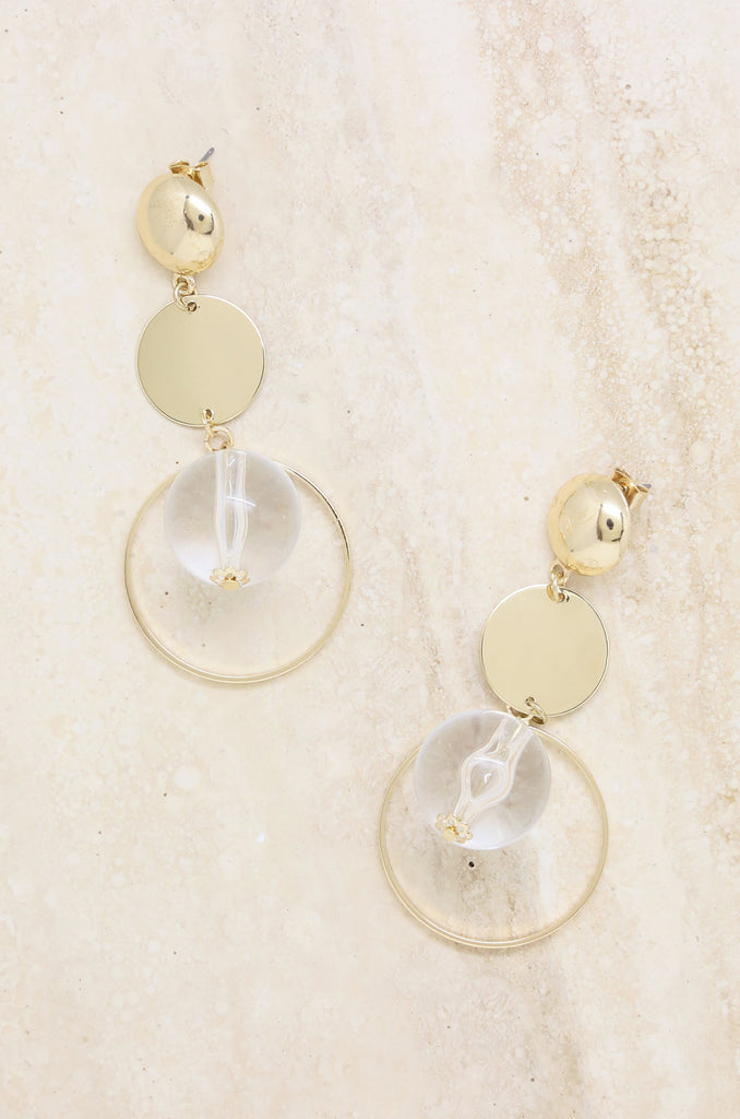 LASTING MEMORY EARRINGS IN CLEAR AND GOLD