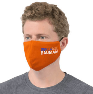 Derek Bauman For City Council Mask - Orange unionstrongshirts