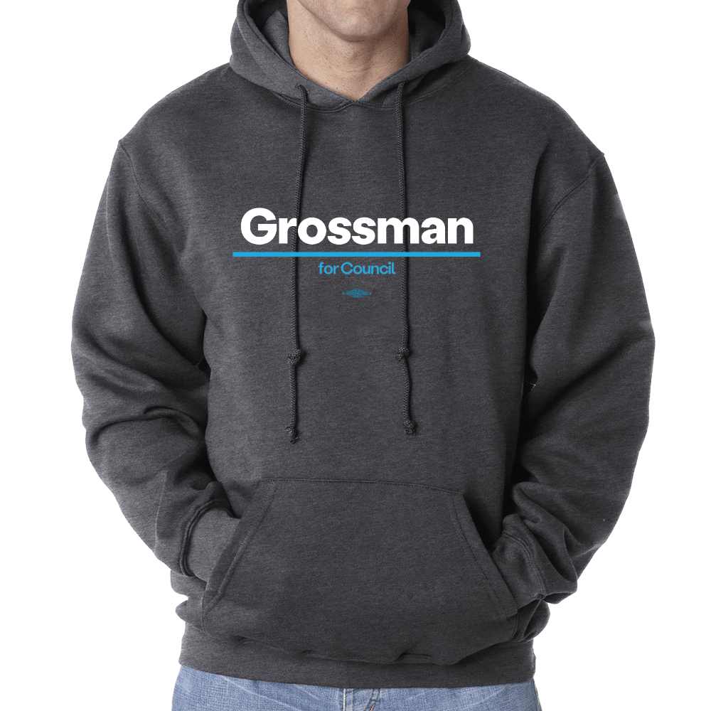 Kurt Grossman for City Council Hooded Sweatshirt Shirts Kurt Grossman Hooded Sweatshirt Heather Charcoal S