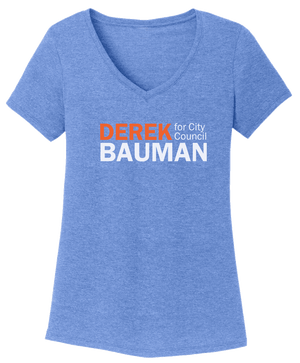 Derek Bauman For City Council Blue V-neck Shirts unionstrongshirts