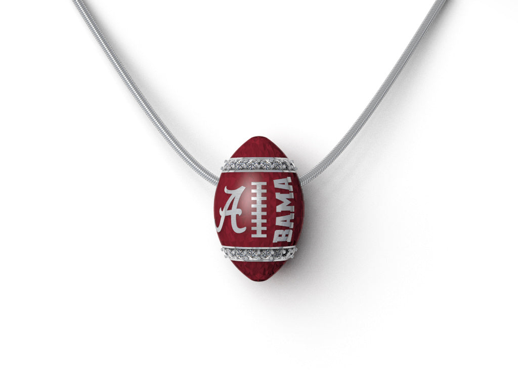 Alabama diamond & silver football pendant