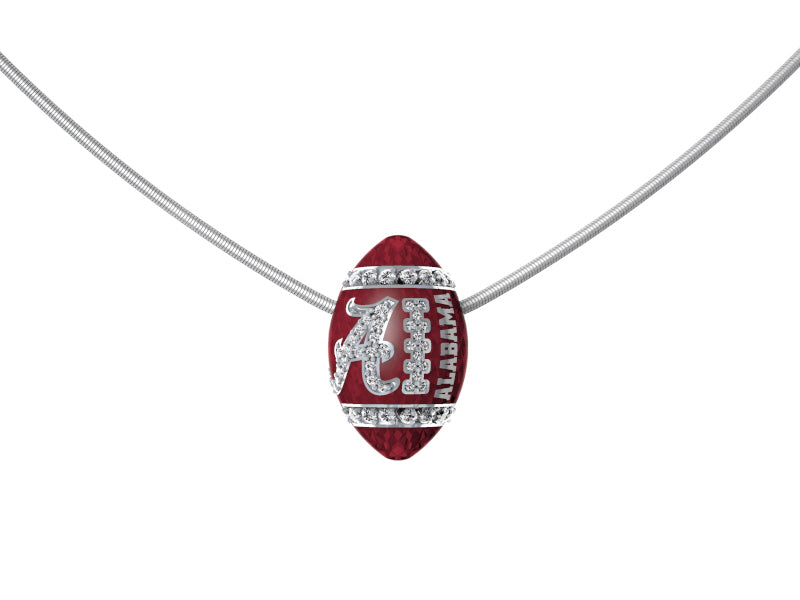 Alabama 14k gold & diamond football pendant