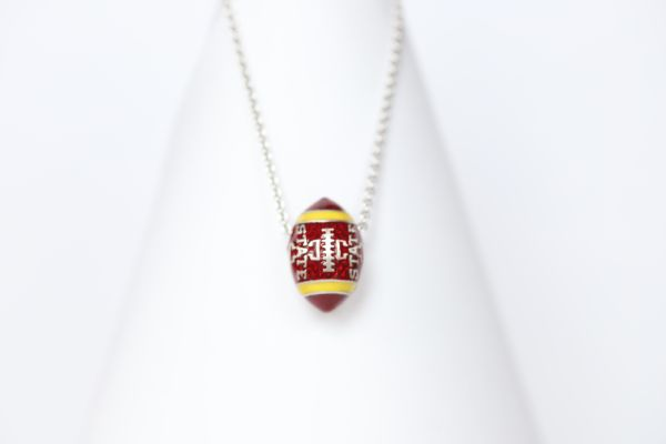Iowa State Enameled Football Pendant