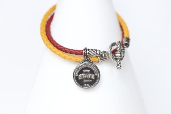 Iowa State Sterling & Leather Double Wrap Bracelet