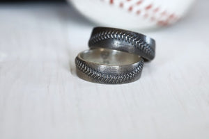 Baseball Stitch Ring 8mm Comfort Fit in Sterling Silver