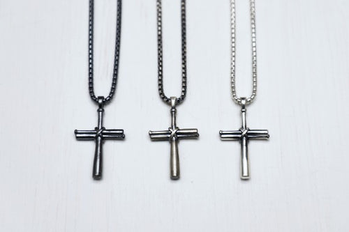 Baseball Cross Sterling silver Lobster clasp Rounded box chain Metal finish (in pictured order) gun metal, brushed, high polished