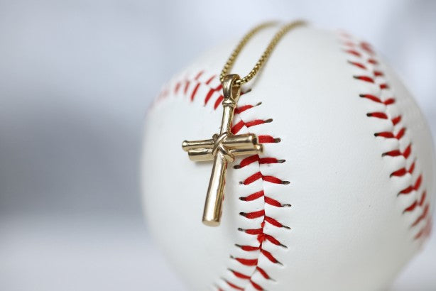 14k Gold Baseball Cross For Men