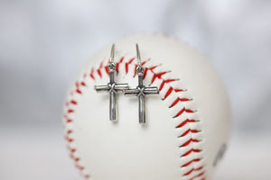 Baseball Cross Earrings in Sterling Silver