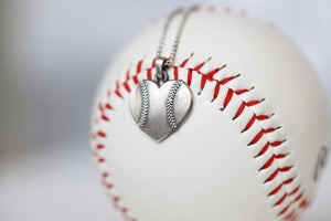 Baseball Heart Pendant in Sterling Silver