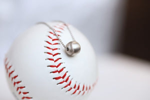 "Wear this Baseball Pendant on game day and everyday!  Product Details  Sterling silver 18"" sterling silver cable chain Lobster clasp Pendant: 9mm, baseball is 3D Necklace box included"