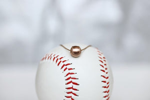 "Wear this Baseball Pendant on game day and everyday!  Product Details  14k Rose gold,  18"" rose gold cable chain Note: this product contains only 14k rose gold. Lobster clasp Pendant: 9mm, baseball is 3D Necklace box included"