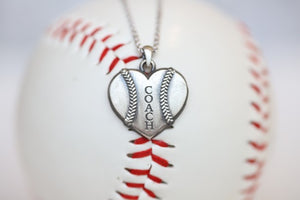 Coach Baseball Heart Pendant in Sterling Silver, Gift, Engraved