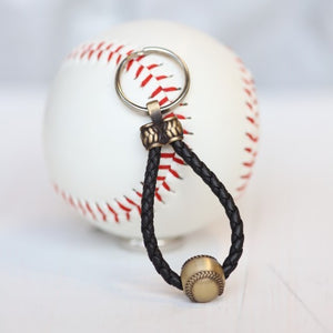 Leather Baseball Key Chain, Gift for Dad, Mom, Youth, Boy, Girl, Personalized, Team Colors