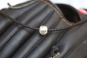 "Men's 20"" fine Italian leather 2"" sterling silver extender Black Sterling silver baseball 10mm"