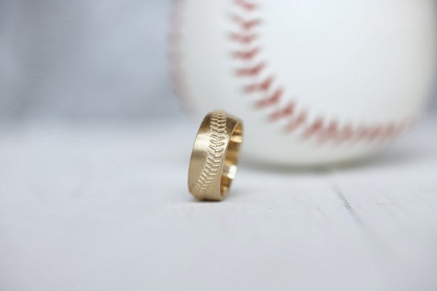 10k Baseball Stitch Ring 8mm