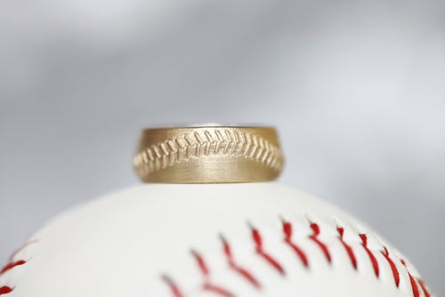 14k Baseball Stitch Ring 8mm