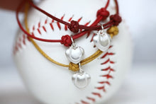 Load image into Gallery viewer, Baseball Puff Heart Leather Bracelet