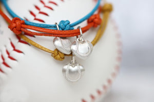 Baseball Puff Heart Leather Bracelet