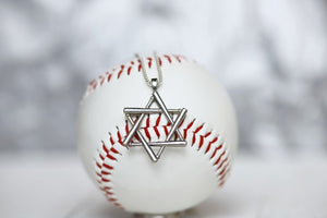 This is our sterling silver Star of David made with baseball bats! Perfect for teenage years on up.   Product Details  Sterling silver Lobster clasp Rounded box chain High Polished Sterling Silver Necklace box included