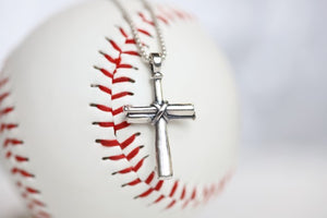 Medium Baseball Cross Necklace