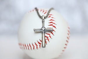 "Our largest baseball cross pendant! Perfect for making a statement! Product Details  Sterling silver cross pendant Sterling silver rounded box chain Lobster clasp Choose from 22"" or 24"" Necklace box included Men Boys Dad Father Day Gift Groomsmen Best Man Baseball Cross Pendant Necklace"