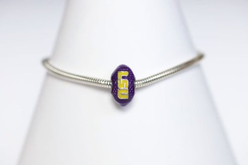 LSU Enameled Football Bracelet