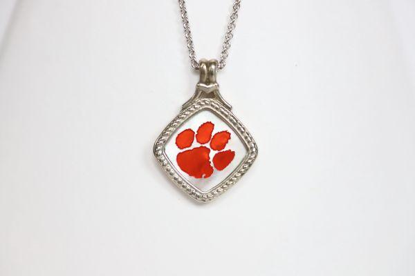 Made for the biggest Clemson fan! This is a one-of-a-kind piece.   Features:  Amethyst accents Man made opal center 14k gold Cable chain with lobster clasp 18