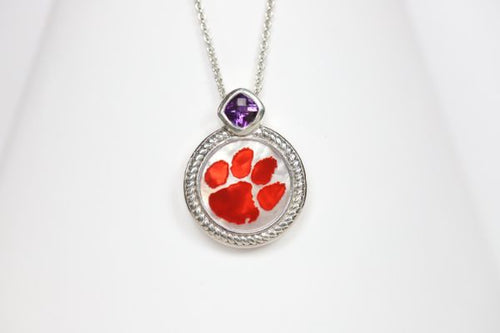 Clemson Mother of Pearl & Amethyst Necklace