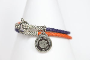 Clemson Sterling & Leather Double Wrap Bracelet