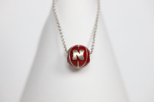 Nebraska Enameled Basketball Pendant