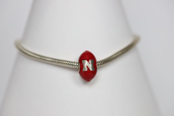 Nebraska Enameled Football Bracelet