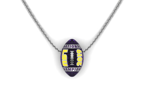 LSU National Champions Enameled Football Pendant