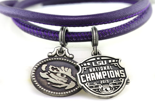 LSU National Champions Double Wrap Purple Leather Coin Bracelet