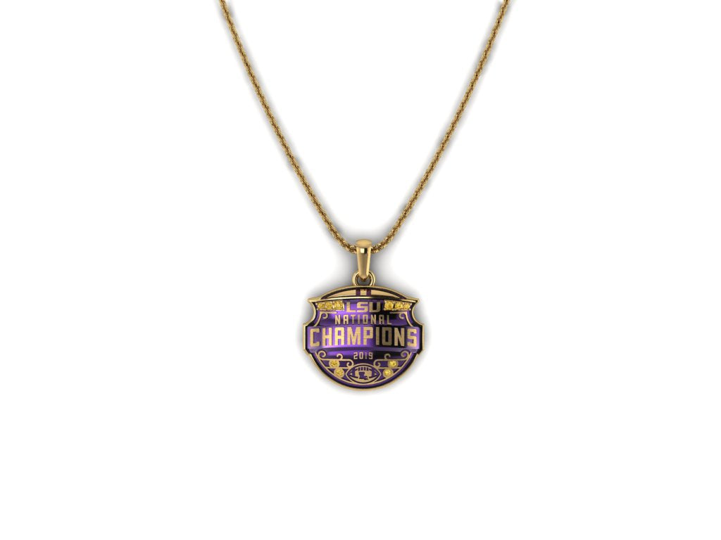 LSU National Champions Sculpted 14K Yellow Gold Enameled Pendant