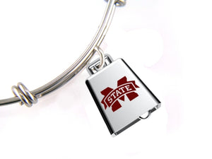 Mississippi State Bulldogs Stainless Steel Cowbell Expandable Bracelet