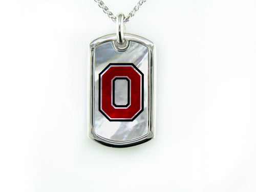 Ohio State Mother of Pearl Dogtag
