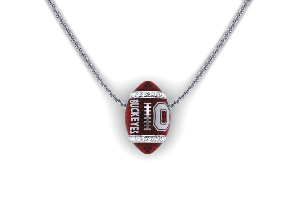 Ohio State diamond & silver football pendant