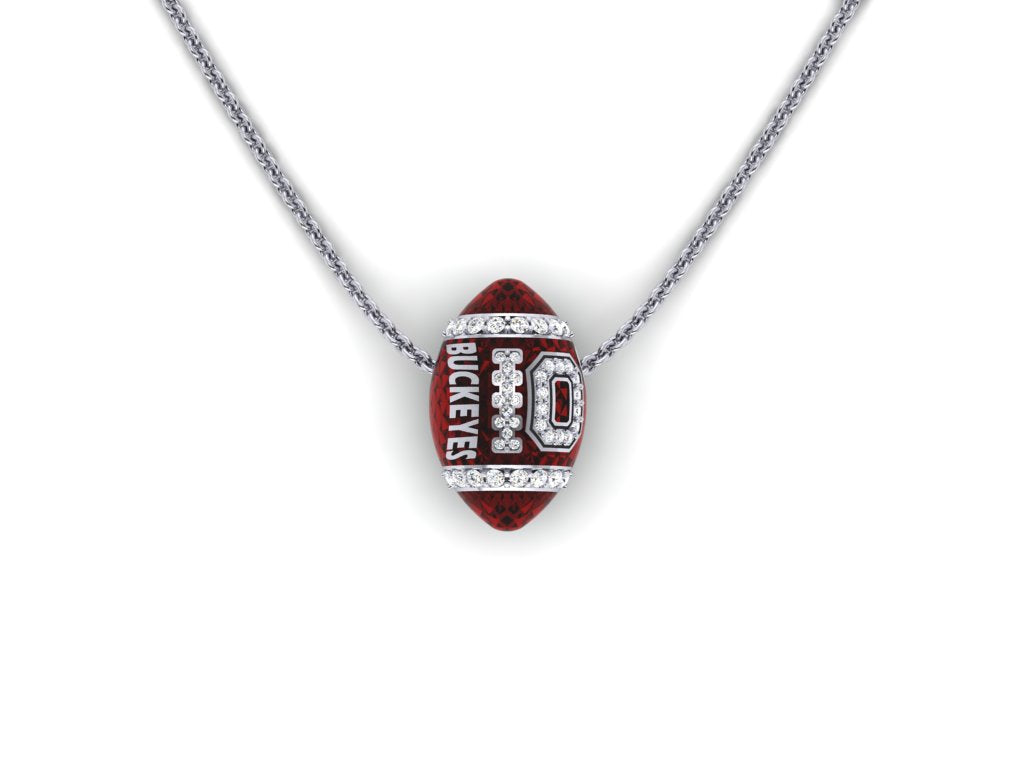 Ohio State 14k gold & diamond football pendant