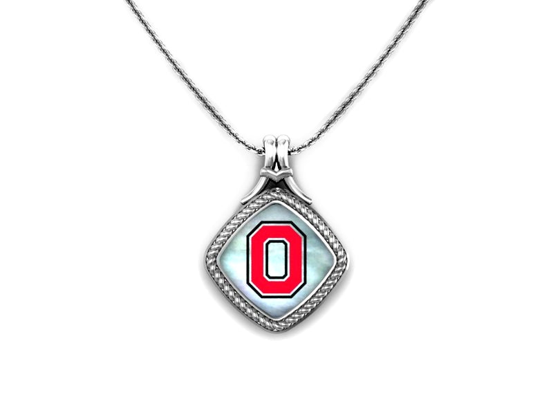 Ohio State Angled Mother of Pearl Pendant