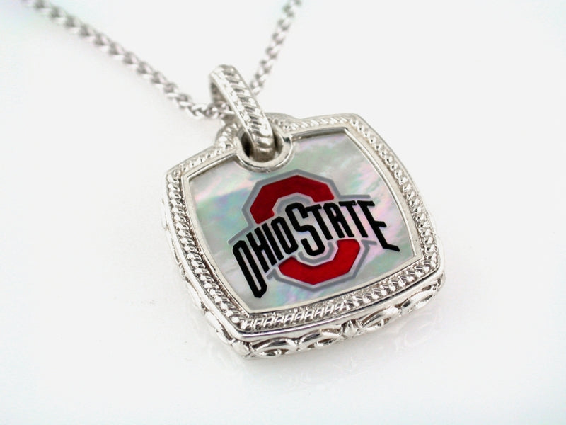 Ohio State Cushion Mother of Pearl Pendnat