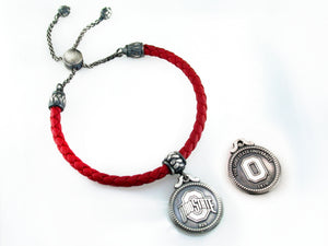 Ohio State Italian Leather Bolo Bracelet