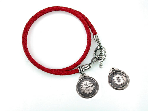 Ohio State Italian Leather Bracelet