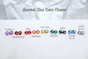 Personalized Custom Sterling Silver Baseball Stud Earrings Pick Your Team Color