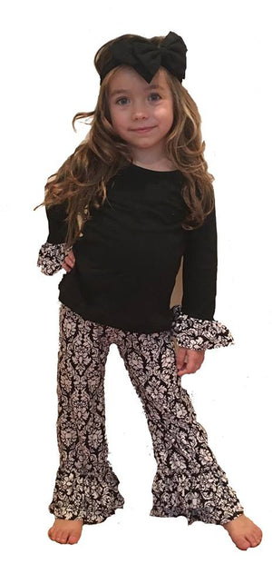 Damask Ruffle Pant Set