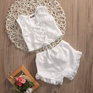 Lace Up Lace Short Set